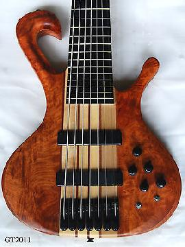 Solidwood Bird Eyes Bubinga 7 Strings Electric Guitar Bass 2011
